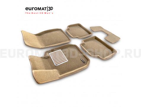 Текстильные 3D коврики Euromat3D Lux в салон для Bmw 3 (F30) (2010-2018) № EM3D-001202T Бежевые